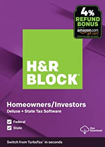 H&R Block Tax Software Deluxe + State 2019 with 4% Refund Bonus Offer [Amazon Exclusive] [Mac Download]