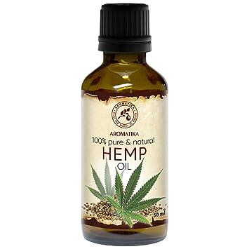 Aceite de Semillas de Cáñamo 50ml - 100% Puro y Natural - Aceite Base - Cannabis Sativa Seed Oil - Cuidado Intensivo para Rostro - Cuerpo - Cabello - ...