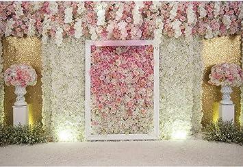 AOFOTO 6x4ft Elegant Flower Backdrops White Handmade Roses Photography Background Bridal Showers Girl Baby Adult Artistic Portrait Romantic Wedding Photo Shoot Studio Props Video Drop Vinyl Wallpaper