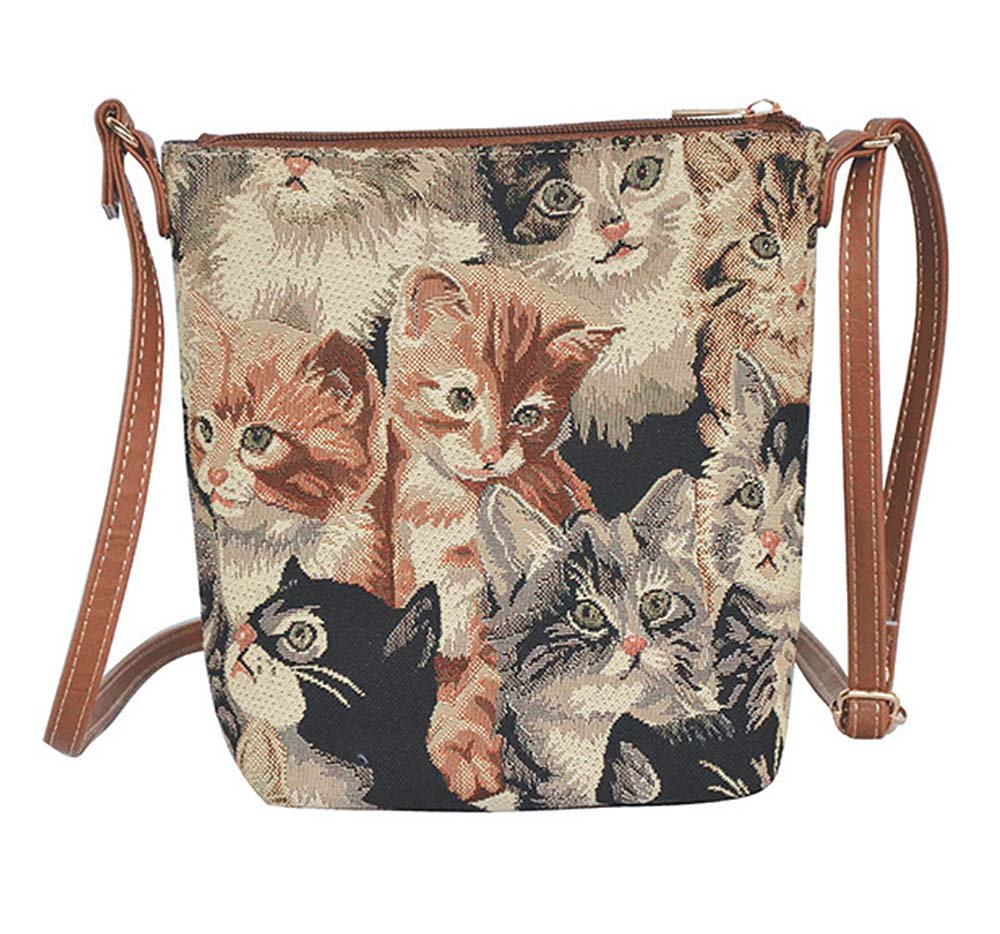 Signare Cat Print Women's Tapestry Lightweight Top Zip Cross Body Bag Sling Bag with Adjustable Strap by (Sling-CAT)