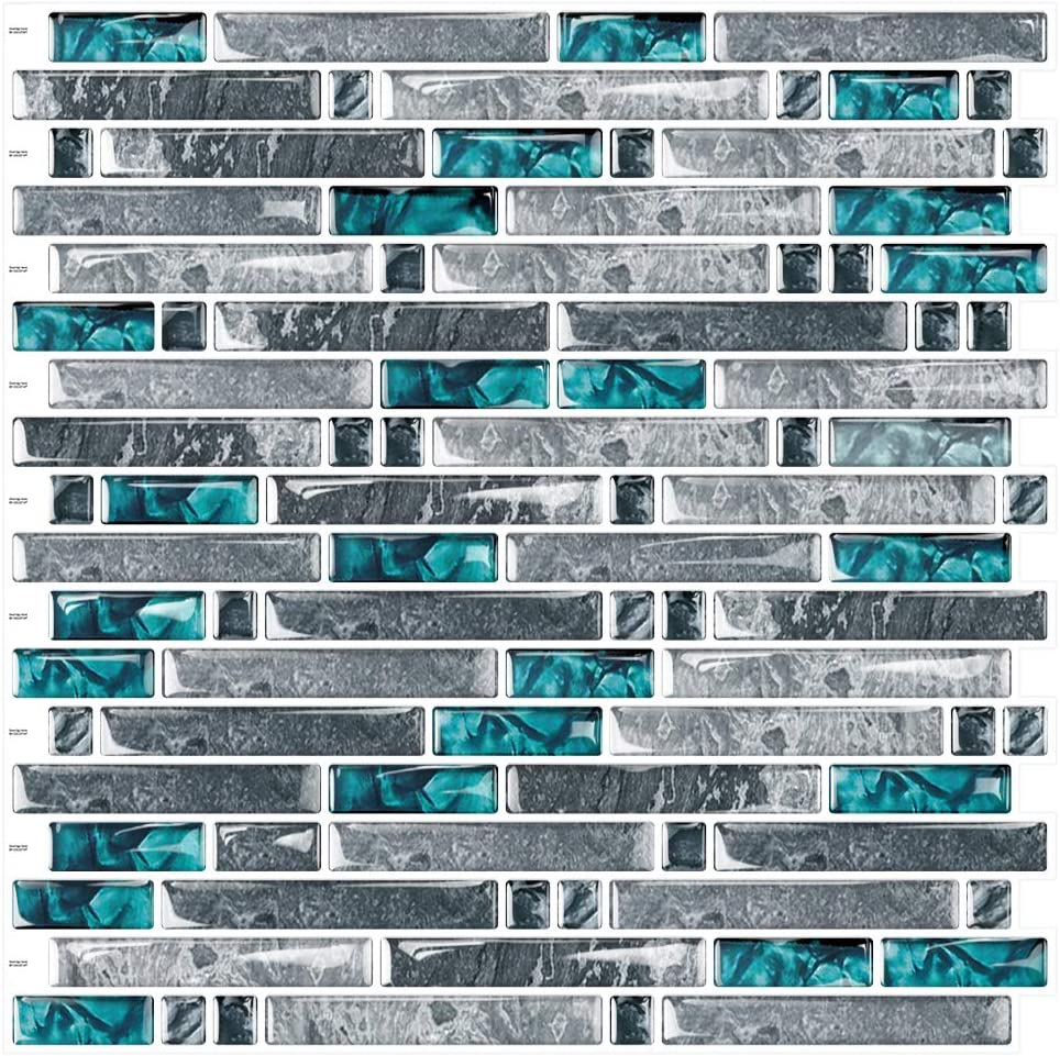 """Cocotik 12""""x12"""" Kitchen Backsplash Tiles Peel and Stick Wall Stickers, 10 Sheets (Gray and Teal Green)"""