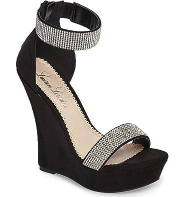 c16eed13d Lauren Lorraine Lana Black Rhinestone Embellished Straps Platform Wedge  Sandals (6)