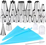 Cake Decorating Set, Seacue 32pcs Icing Piping Tips Set, Including 20 Small Piping Tips/ 5 Large Tips/ 1 grass Tip/ 1 Puffs Tip/ 2 Couplers/ 1 Clean Brush/ 2 Recyclable Piping Bags