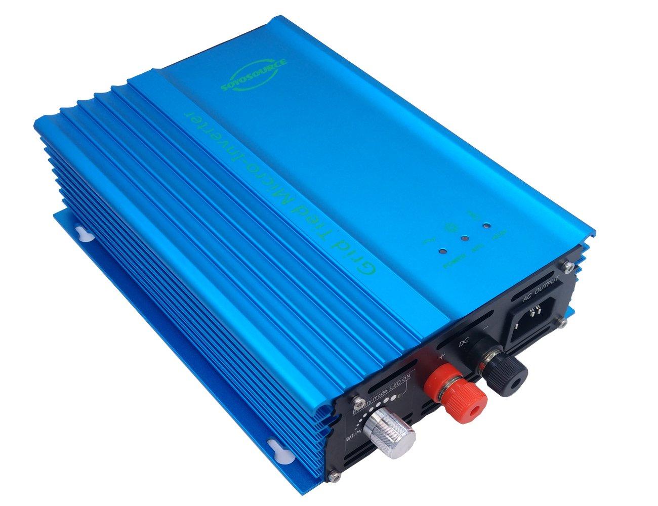 SOYOSOURCE 500W Grid tie Inverter for PV Voc Range:55v-90v Home Solar System or 48V Battery Discharge Adjustable Power Output high Efficiency dc Inverter Pure sine Wave (500W-ADJ-DC:55V-90V)
