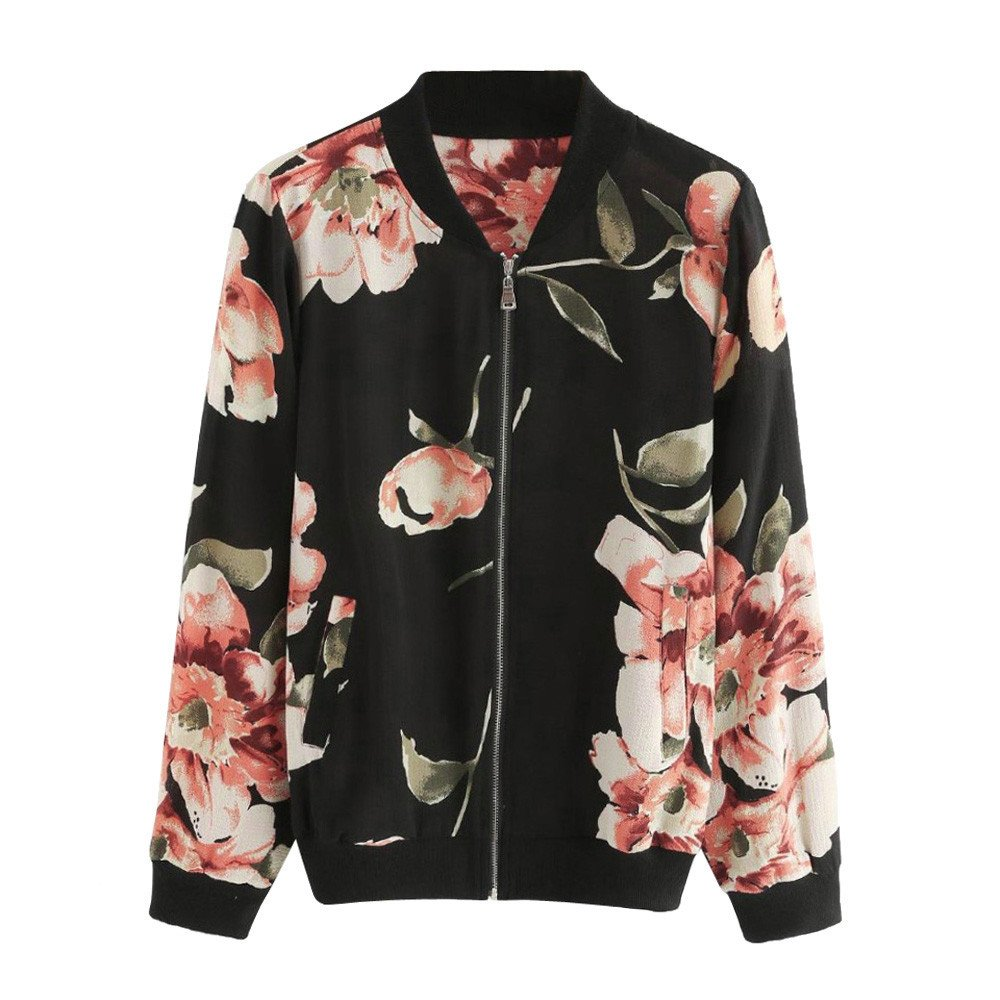 On Sale! Women Bomber Jackets,Vanvler Ladies Floral Print Jacket Zipper Outwear Coat Fashion (XL, Black)