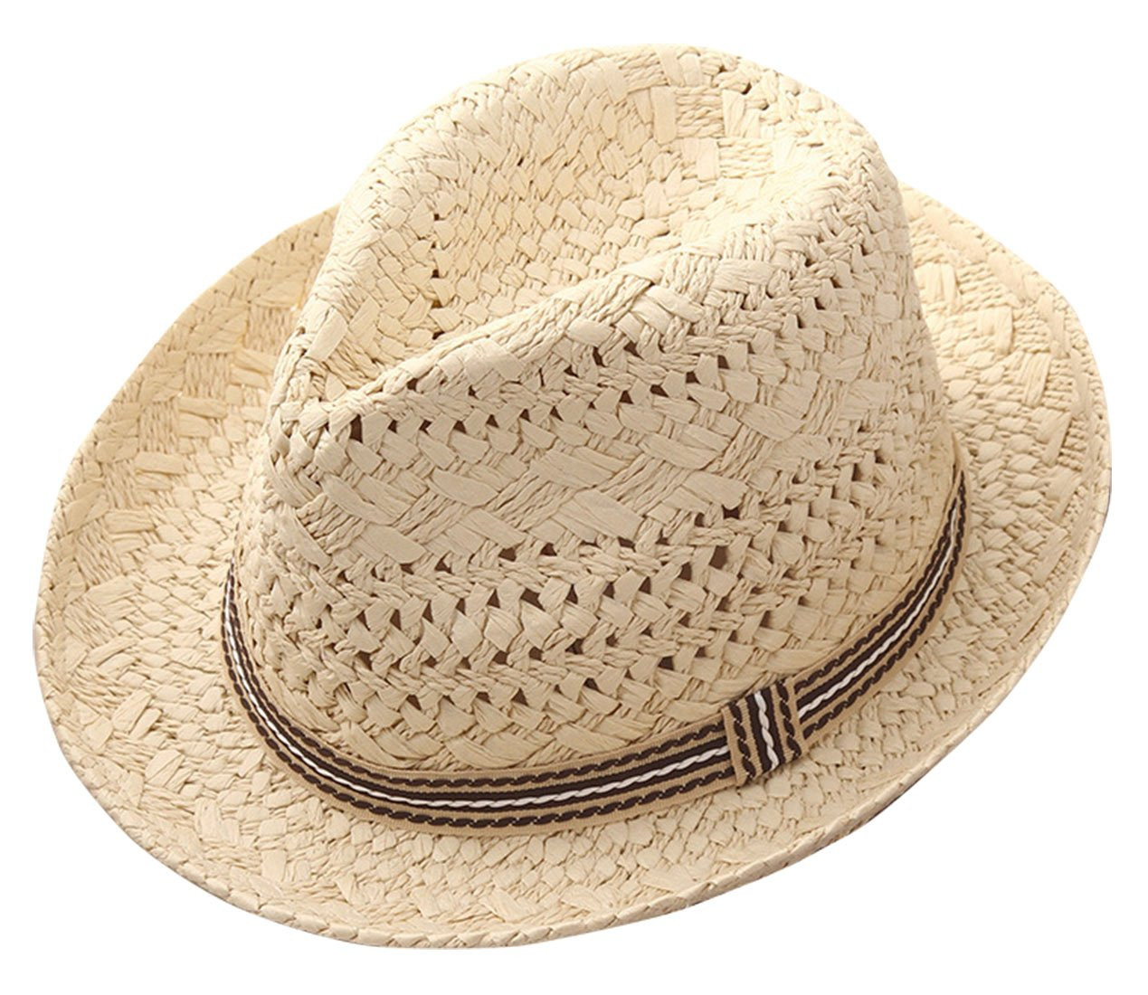 Girls Cool Jazz Hat Brethable Soft Hollowed-Out Straw Summer Fedora Cap Beige