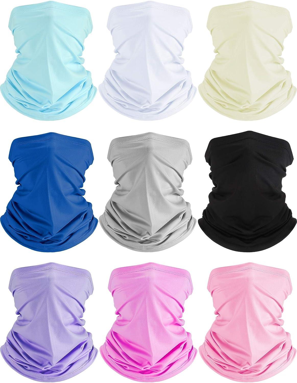 9 Pieces UV Protection Neck Gaiter Face Cover Scarf Bandana Balaclava Headwear