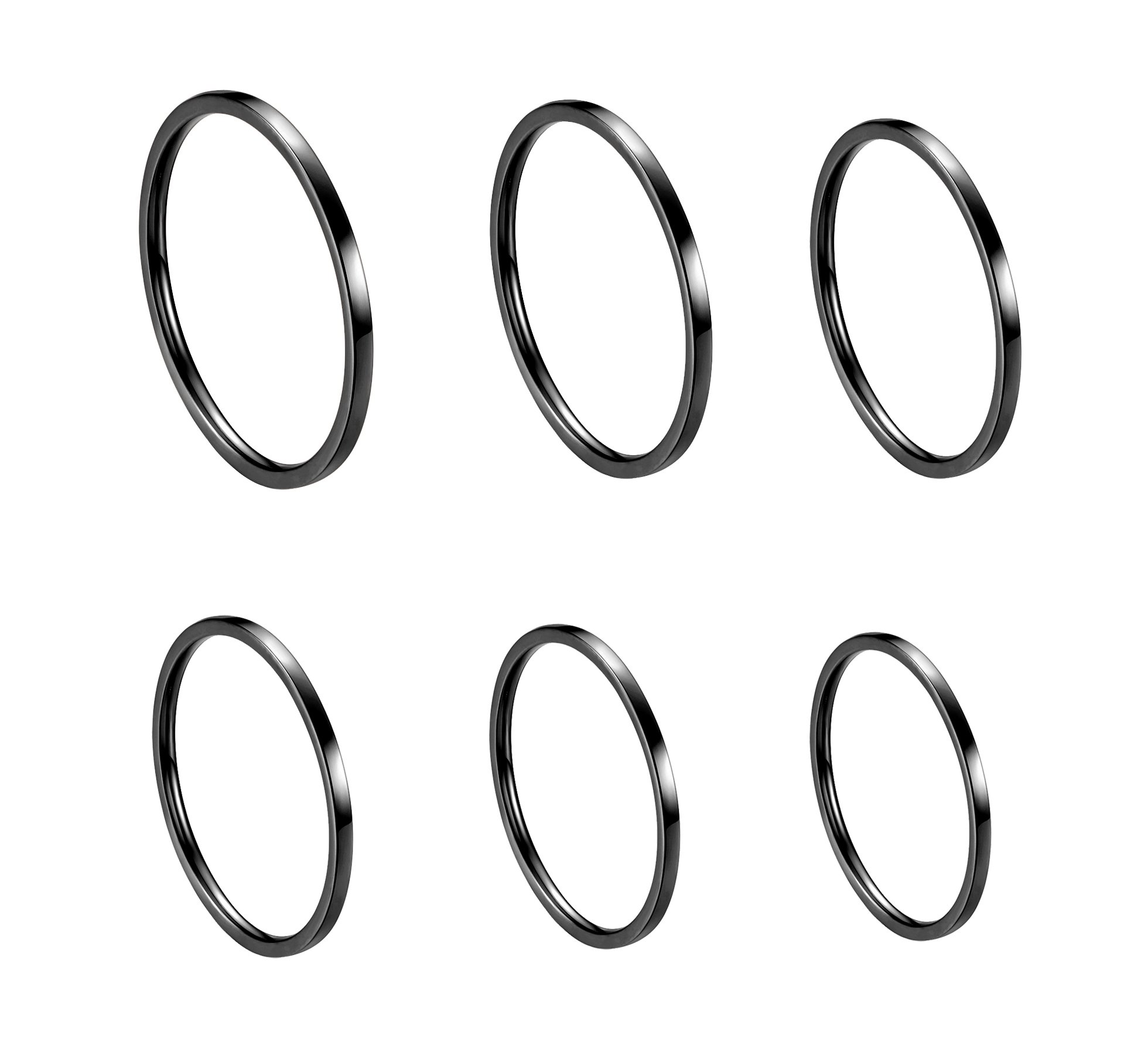 ALEXTINA Women's 6 Pieces Stainless Steel 1MM Black Thin Midi Stacking Rings Plain Band Comfort Fit Size 4 to 9