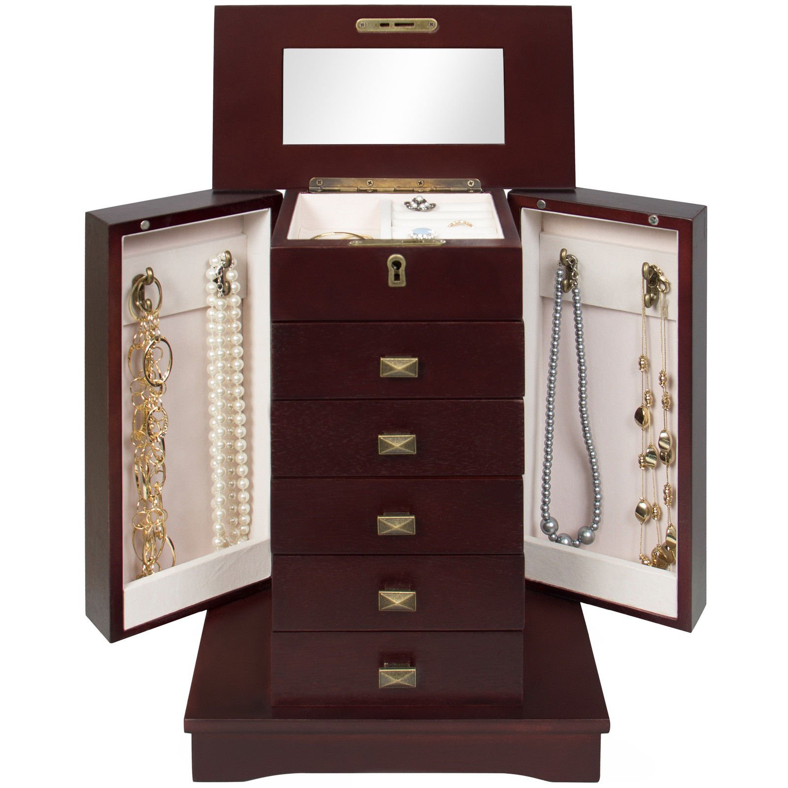 Elegant Piece Handcrafted Wooden Armoire Jewelry Cabinet Functional Great for Storing Everyday Jewelry