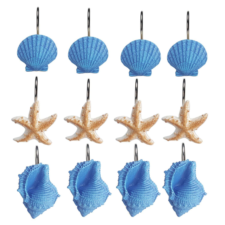 RosinKing 12/Ganci Ganci per Tenda da Doccia Seashell Starfish Conch Appeso Ricambio Moda Anello per Appendere Tende in Bagno Camera da Letto Baby Room Home Decorativo