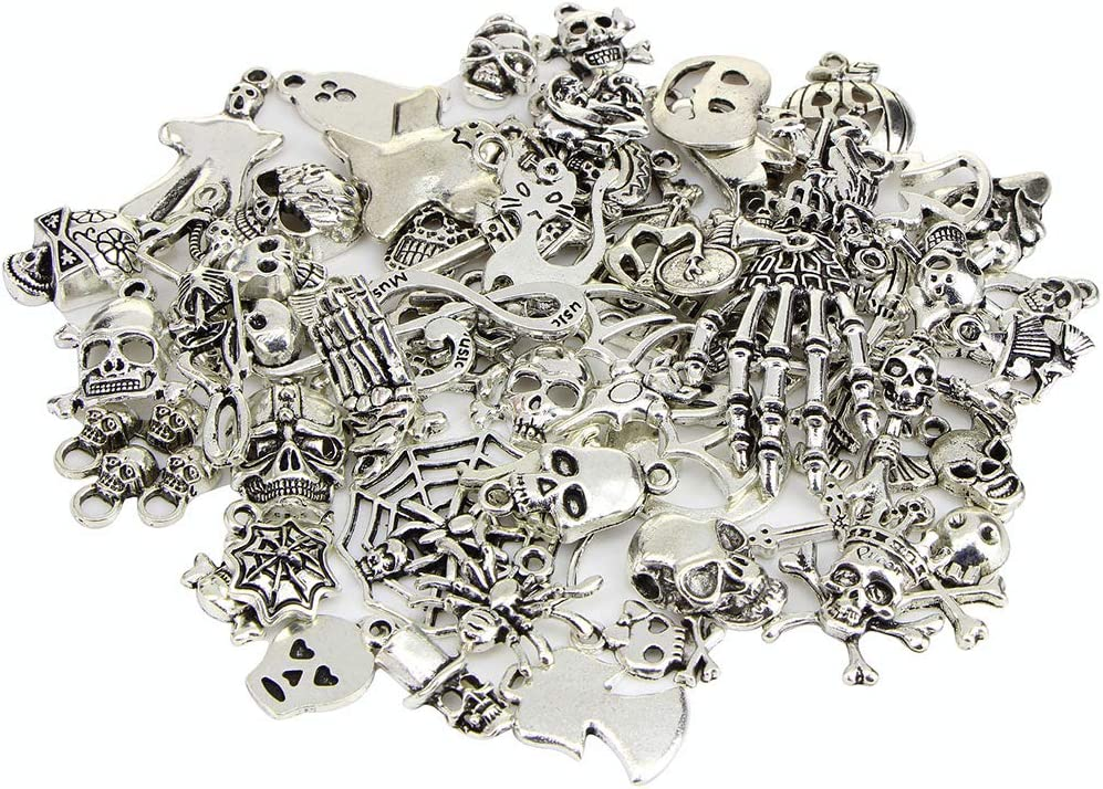 Gobesty Charms Retro Antik Silber Charms Hexe Fledermaus Sch/ädel Anh/änger f/ür Schmuck Basteln K/ürbis 60 St/ück Halloween-Muster Charms Mixed