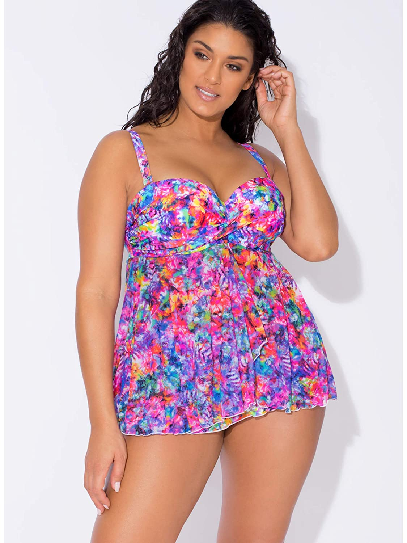 5825344c98738 Smart & Sexy Women's Plus Size Full Busted Ruffle Twist Bandeau Tankini at  Amazon Women's Clothing store: