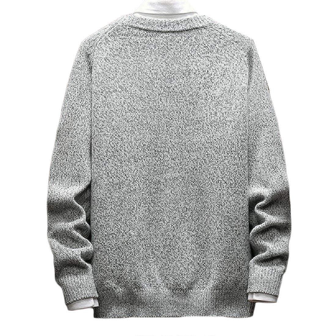 Winwinus Mens Pullover Hit Color Plus Size Fall//Winter Sweater Outwear