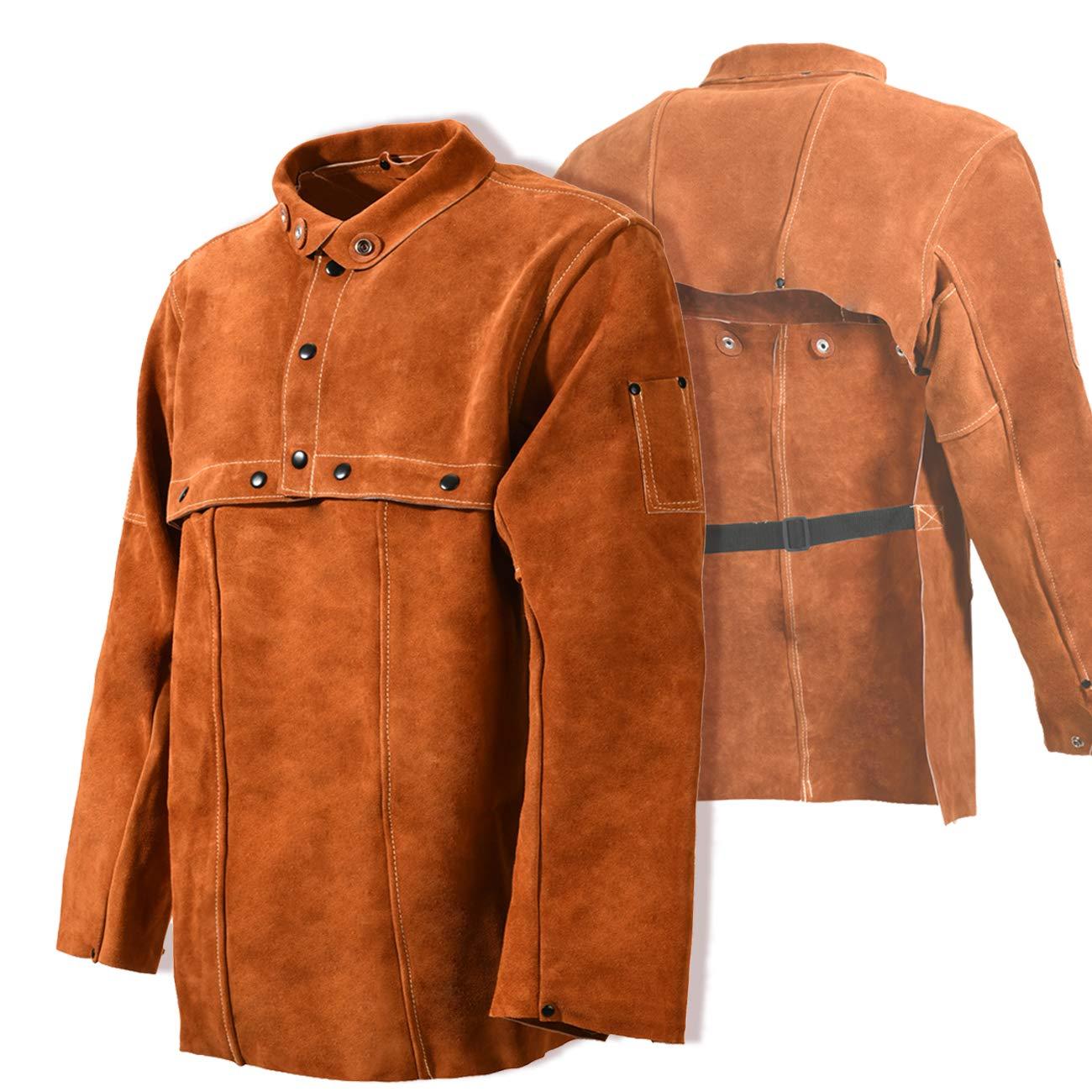 Leaseek Leather Welding Jacket - Heavy Duty Welding Apron with Sleeve (Large) by LeaSeeK