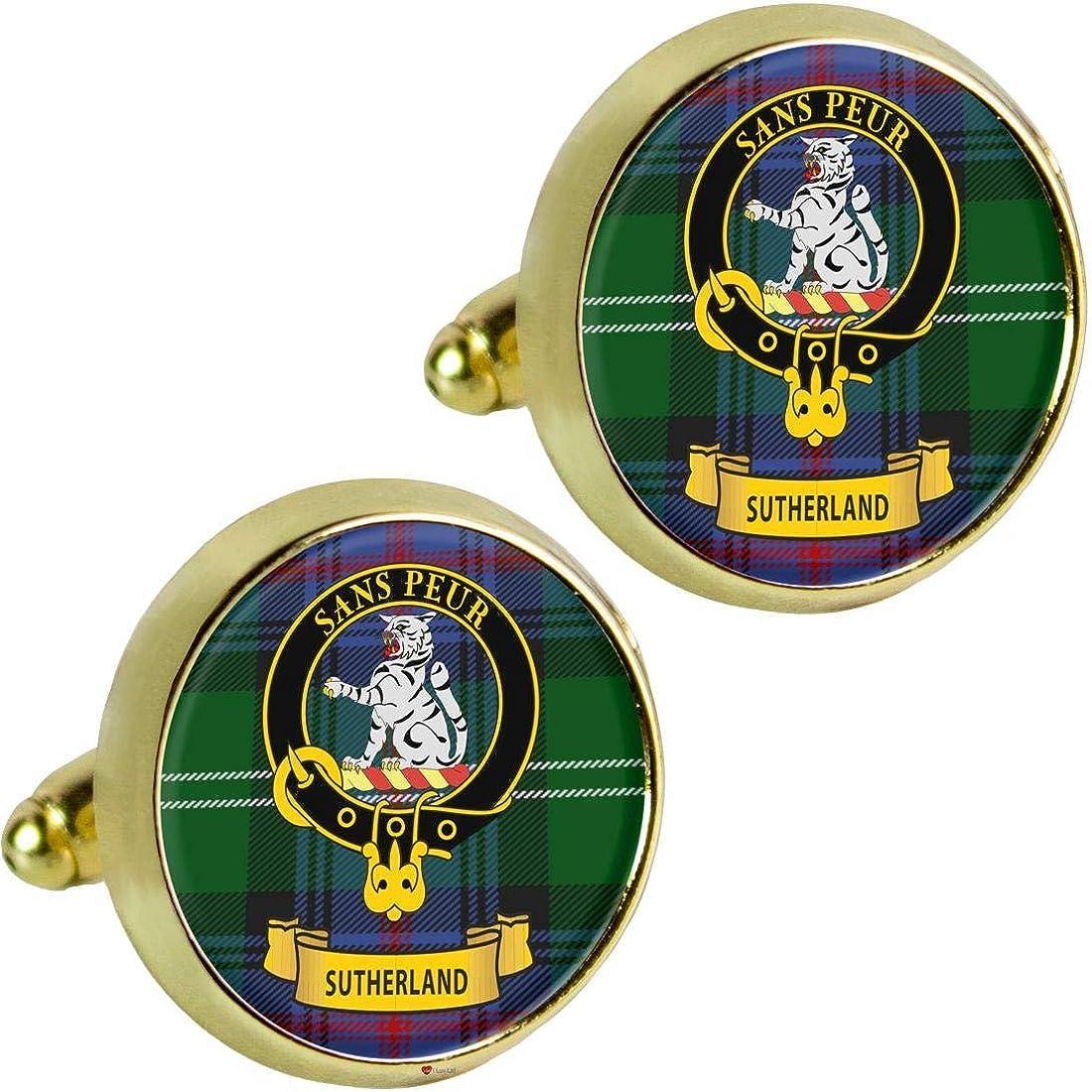 I Luv LTD Sutherland Clan Escocés Cresta de los Hombres Gemelos en Color Dorado Producto de Escocia