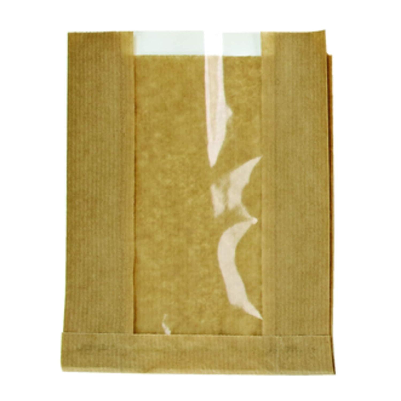 PacknWood 210SVIS2818 Brown Kraft Bag with Window - 11 x 7.1 x 2.8