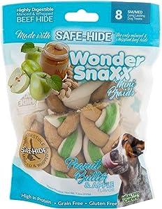 Healthy Chews Wonder Snaxx Dog Chews, Peanut Butter and Apple Mini Braids, Bag of 8 Chews
