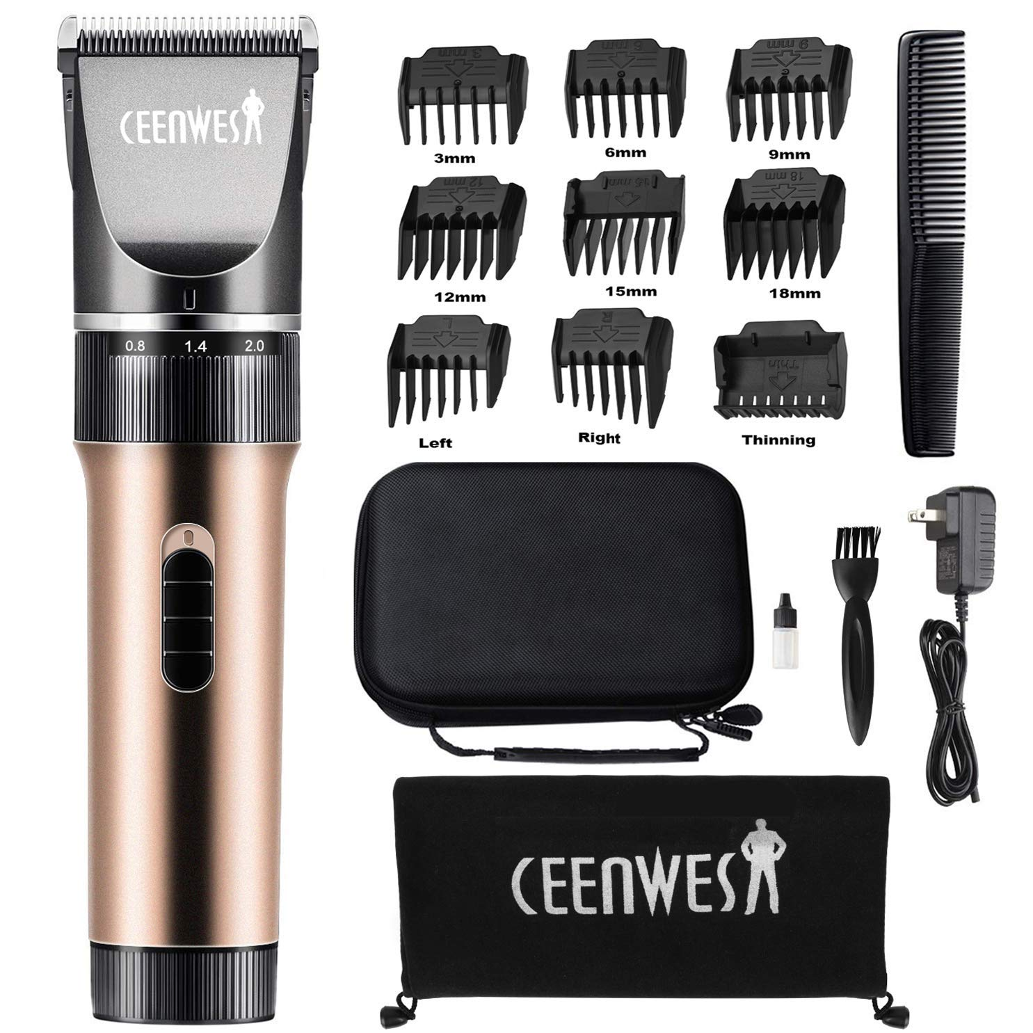 Ceenwes Hair Clippers Cordless Quiet Hair Trimmers Rechargeable Body Hair Removal Machine with 9 Combs Carrying Bag for Women Father Mother Baby