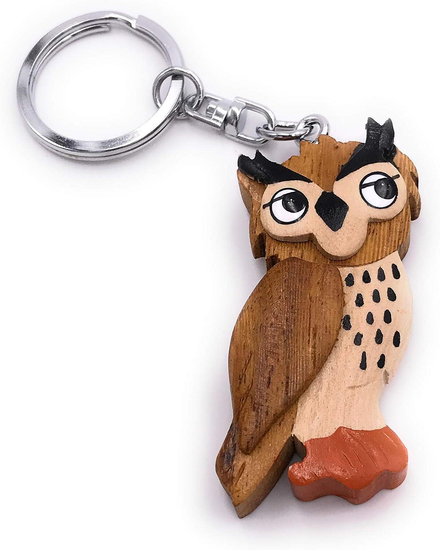 Onwomania Schlüsselanhänger Aus Holz Eule Vogel Kauz Uhu Tier Wald Raubvogel Stehend Anhänger Charm Spielzeug