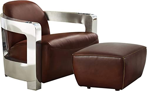 Sunset Trading Milan 2 Piece Leather Living Room Set | Aviator Chair