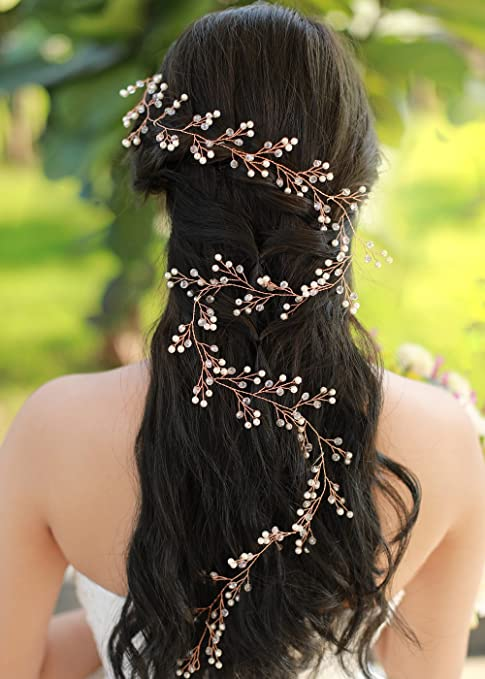 Gracewedding Mariage Or rose Cheveux longs Vigne Mariage Cheveux Vigne  Mariage vintage Coiffe Cheveux Cristal pièces