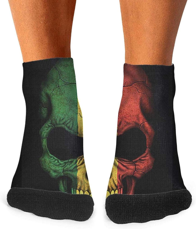 Floowyerion Mens Dark Senegal Flag Skull Art Novelty Sports Socks Crazy Funny Crew Tube Socks