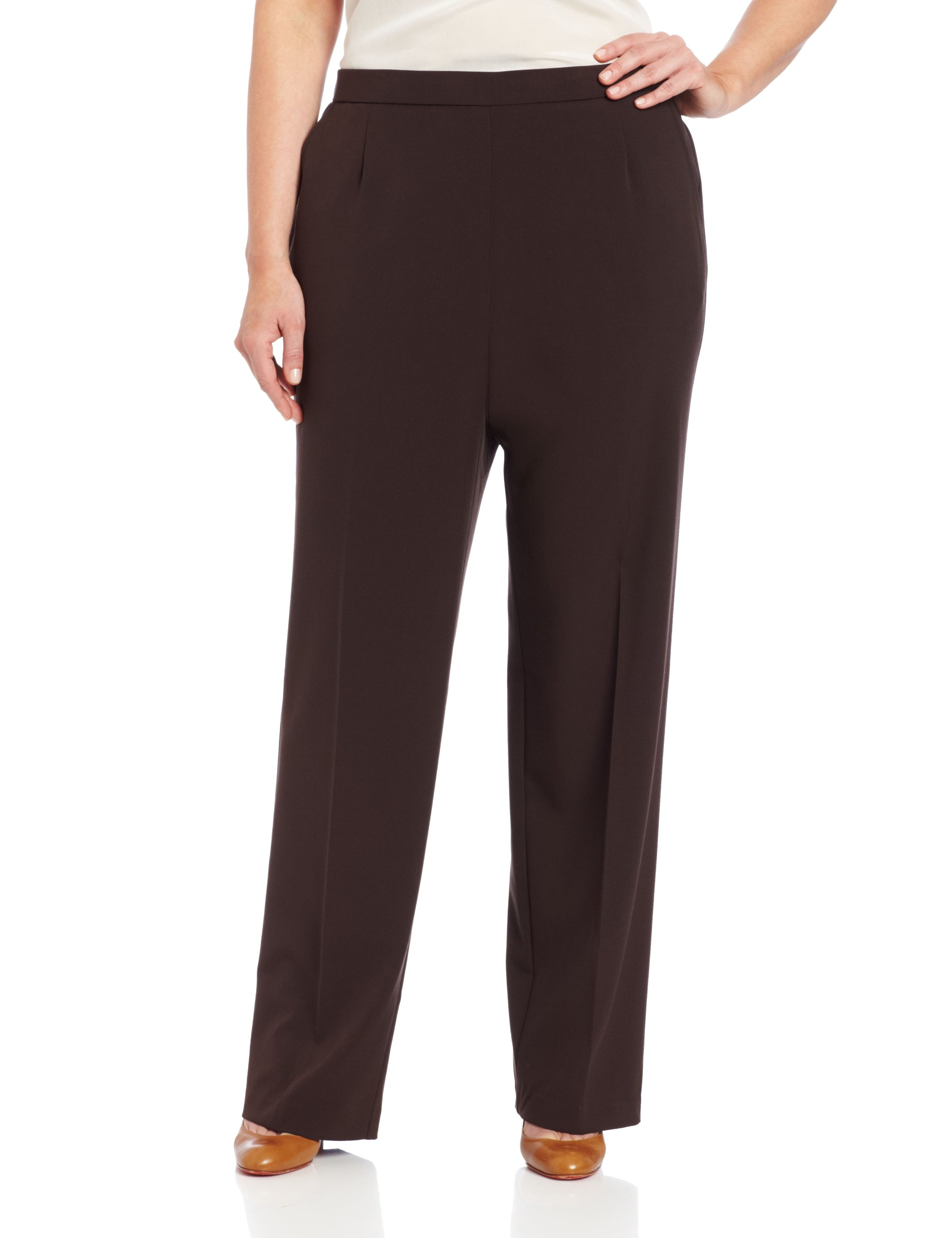 Briggs New York Women's All Around Comfort Pant,Brown,22W