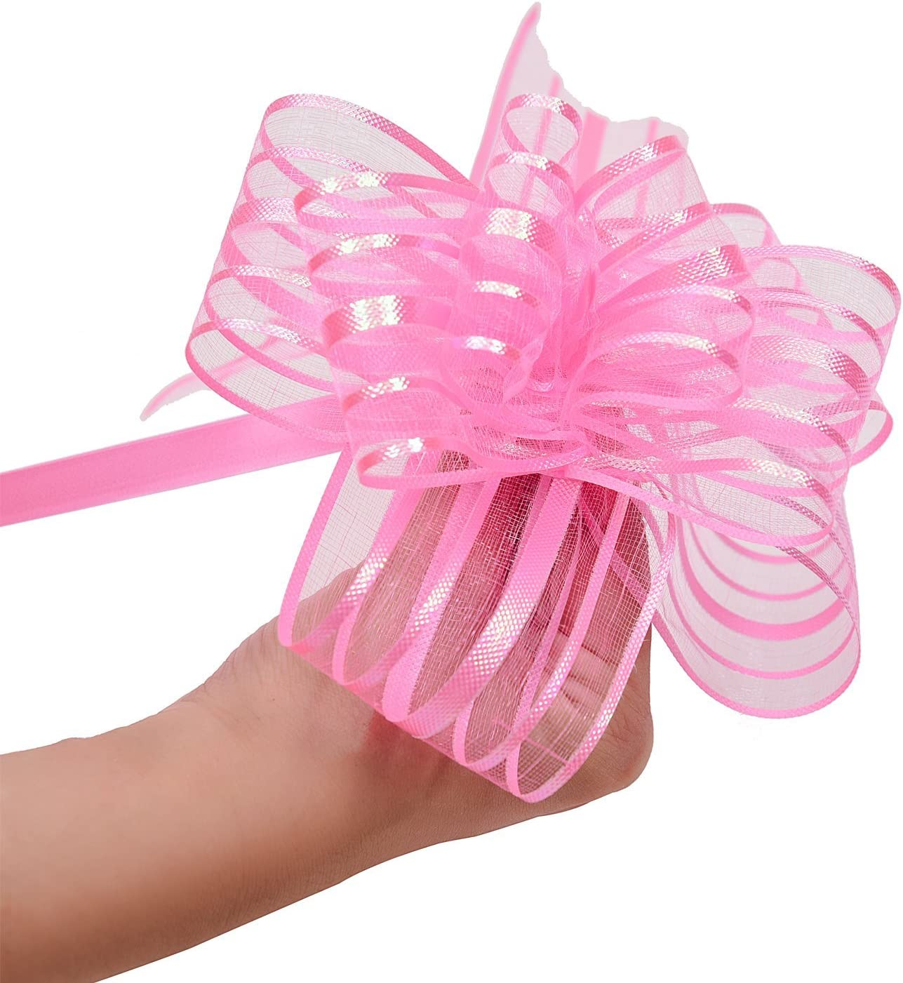 LazyMe Pull Bow, Large, Organza, 6 Inches, for Birthday, Baby Shower, Wedding, Christmas, Holiday Decoration, Party Gift Wrap (Pink, 10)