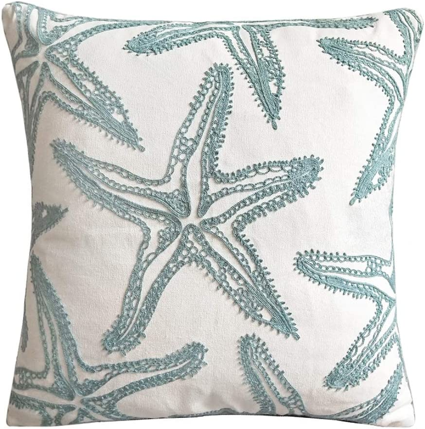 Blue Starfish Throw Pillow Cover