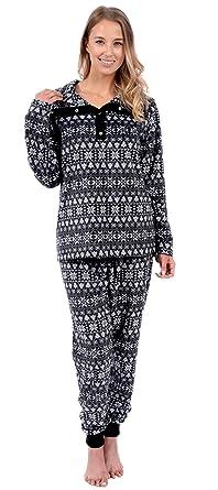 Patricia Womens Soft Minky Polar Fleece Henley Top 2 Piece Pajamas (L, Black Winter