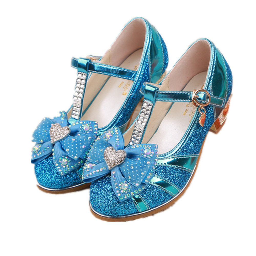 Girl's shoes Princess Cosplay Performance Shoes Sequins Dress Shoes Low Heeled (Blue 32/1 M US Little Kid)