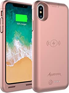 iPhone Xs/X Battery Case, BXXs 4200mAh Slim Portable Protective Extended Charger Cover with Qi Wireless Charging Compatible with iPhone X & iPhone Xs (5.8 inch) - (Rose Gold)