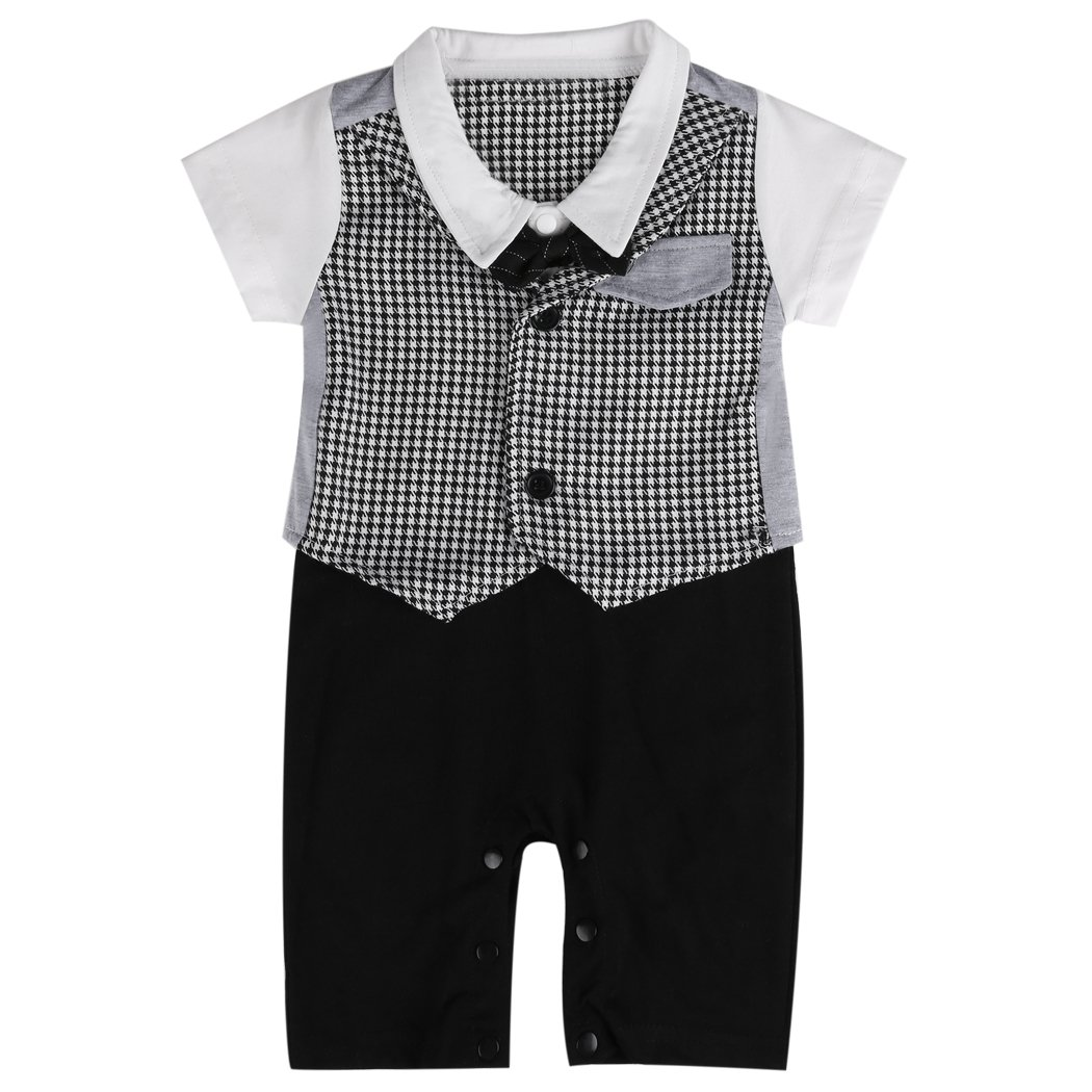 Tuxedo Onesie for Boys | Baby Romper Suit White and Black | Sizes 70, 80, 90, 100 | Suit with Bow Tie | 3 - 18 Months, black, 70 (EU) Lexikind