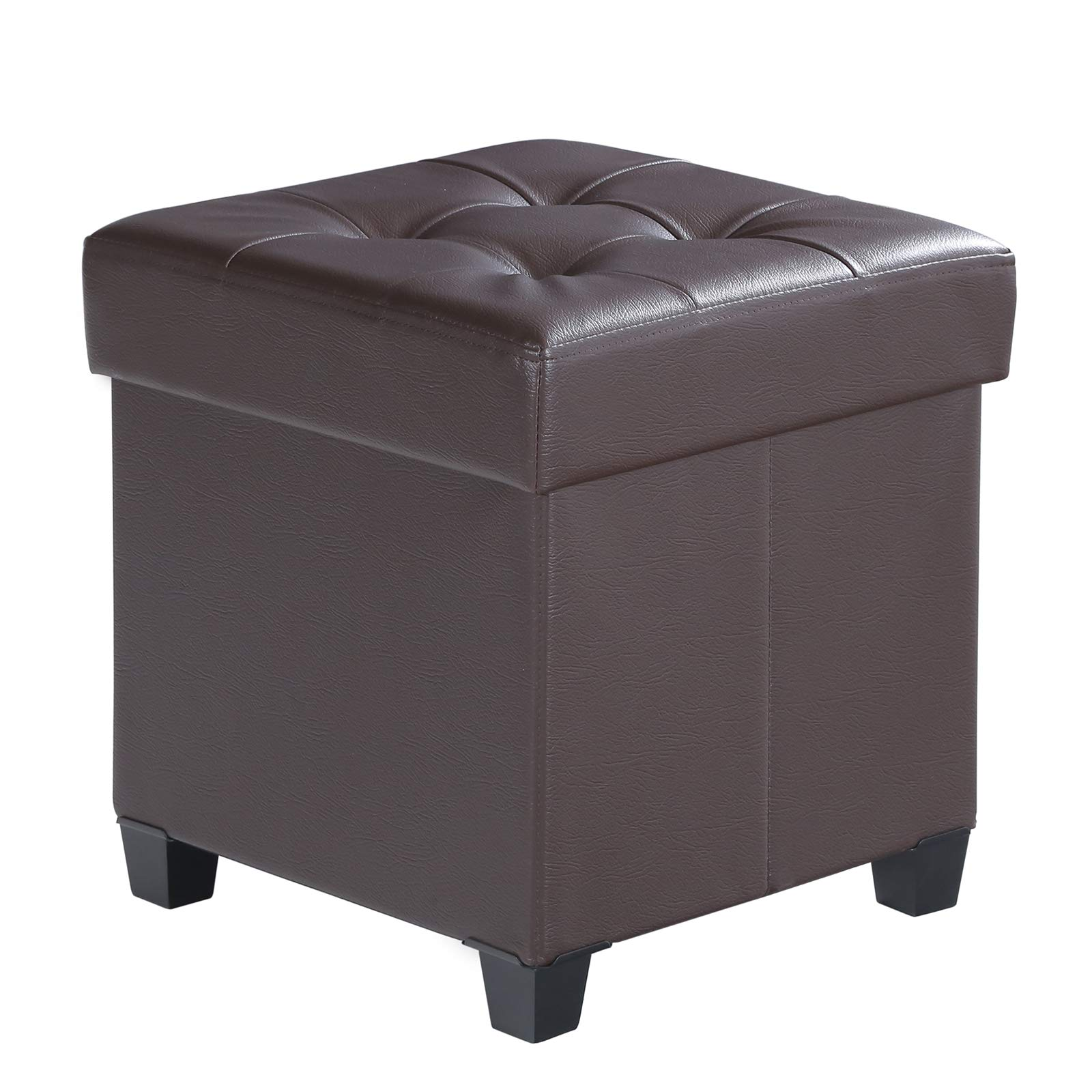 SONGMICS Collapsible Cube Storage Ottoman Foot Stool Comfortable Seat with Wooden Feet and Lid, Soft Padding, Faux Leather, Brown ULSF14BR by SONGMICS