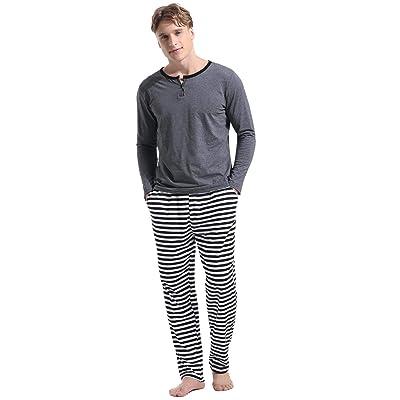 Abollria Men's Cotton Pajama Set Long-Sleeve Top Pants Pjs Sleepwear at Amazon Men's Clothing store