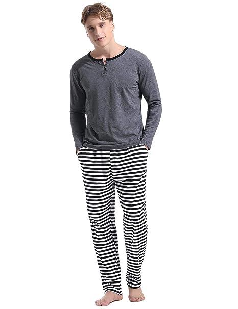 Abollria Pijamas Hombre Algodón 2 Piezas Mangas Larga Pantalon Largo  Invierno Cómodo y Agradable  Amazon.es  Ropa y accesorios 524b98605b48