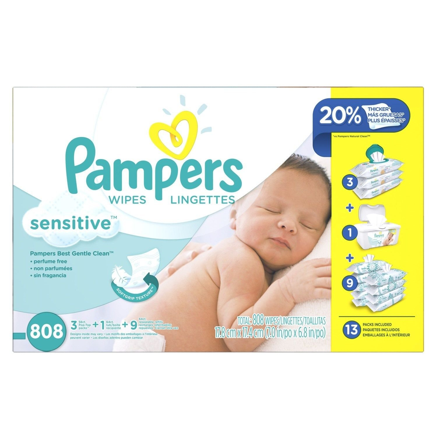 Amazon.com : Pampers Sensitive Wipes 13x Multipack 808 Count 13x (808 Count) : Everything Else