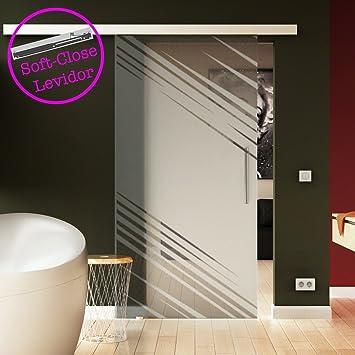 Puerta Corredera de Cristal Transparente Cristal levidor® Easyslide Sistema de riel unidad Completo y barra