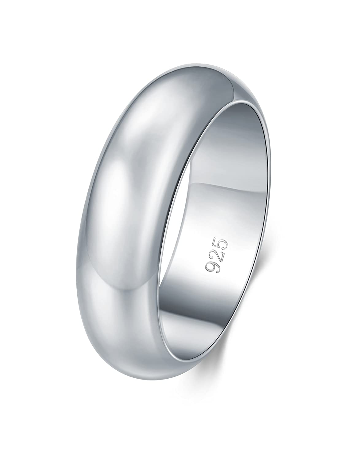 BORUO 925 Sterling Silver Ring High Polish Plain Dome Tarnish Resistant Comfort Fit Wedding Band 6mm Ring BRC Creative Corp.
