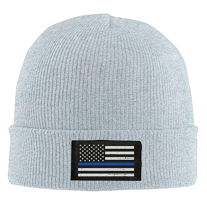 48db504fd7e8b Image Unavailable. Image not available for. Color  Winter Military Thin  Blue Line Flag Knit Hat Beanie Hat
