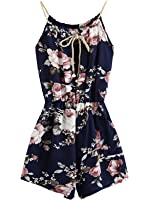 MakeMeChic Women's Sexy Strap Floral Print Summer Beach Party Romper Jumpsuit