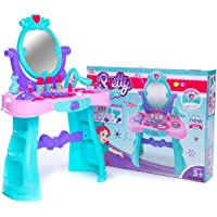 Gooyo Pretty Beauty Makeup Kit Pretend/Roleplay Set with Dressing Table Toys for Age 3 4 5 6 Year Old Kids/Girls with Light and Music