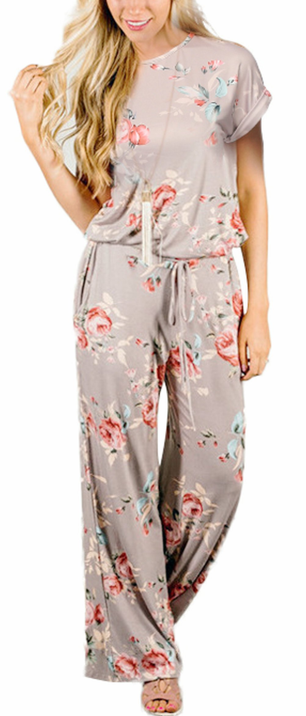 RichCoco Women's Floral Printed Jumpsuit Casual O Neck Loose Long Wide Legs Pants Jumpsuit Rompers with Pockets (Khaki, L)