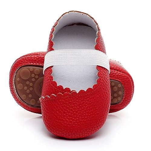 185cd6204dc5 HONGTEYA Girls Dance Ballet Mary Jane Flats Shoes Print Rubber Sole Bottom  Baby Moccasins Sandals (