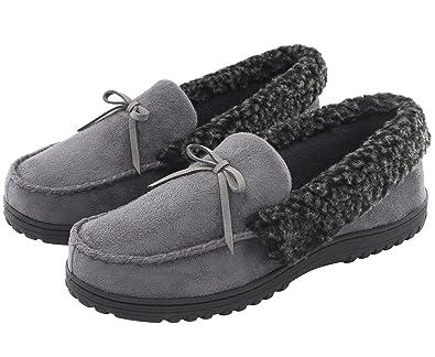 3a7997b61f5 Cozy Niche HomeIdeas Men s Faux Fur Lined Suede Comfort House Slippers