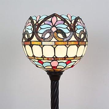 Gweat Tiffany Lámpara de pie del Globo Barroco Floral de 12 Pulgadas Atmosférica Minimalista Home Sofá Mesa Sala de Estar Lámpara de pie del Estudio ...