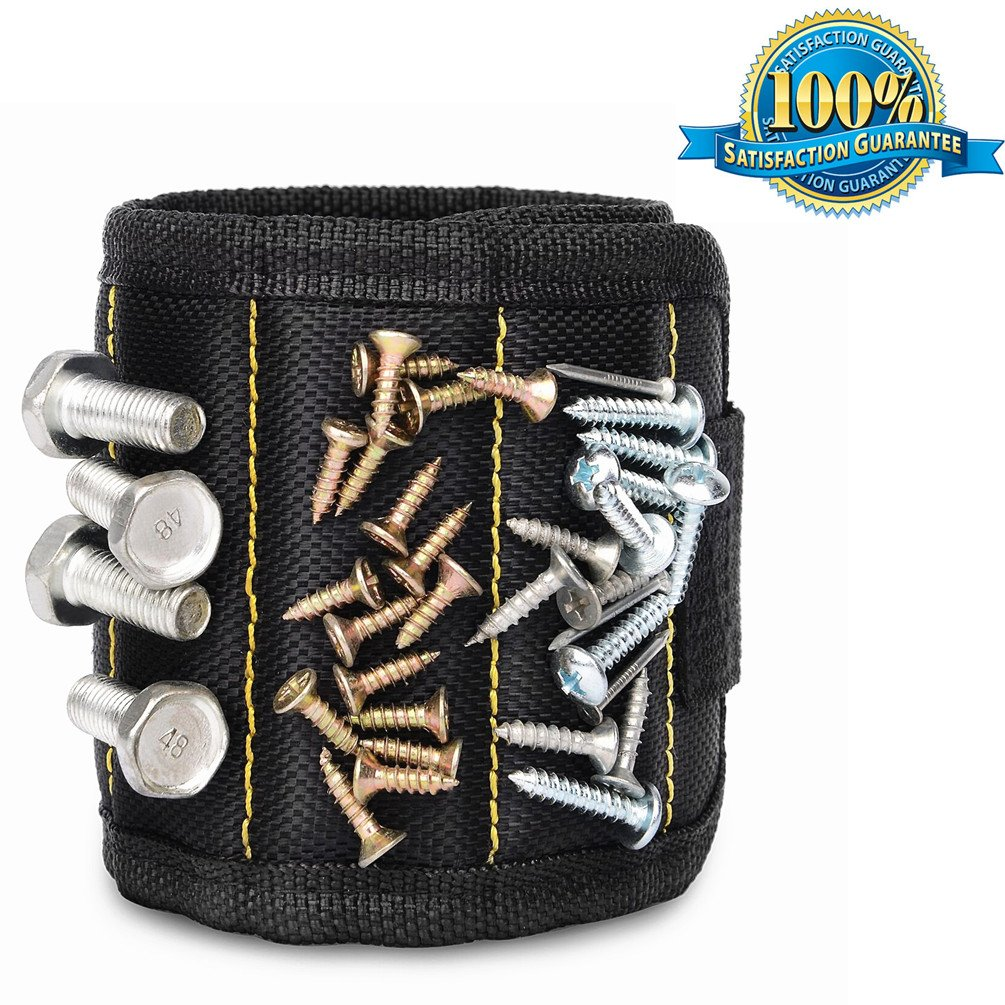 Aoxsen Magnetic Wristband With 5 Powerful Magnets Tool Holder Bag for Holding Screws, Nails, Scissors, and Small Tools, Screwdriver Bits, Auto Repair Small Metal Tools (Black 5 Magnet)