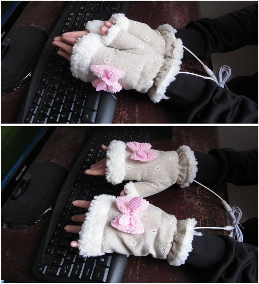 Vanki USB Gloves New Laptop Womens USB Heated Half Winter Warm Hand Gloves Warmer Wool