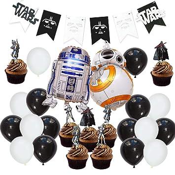 JOYMEMO Artículos de Fiesta de Star Wars Decoraciones, Star War Bunting Banner, Star War Foil Balloons Cake Toppers para el cumpleaños de un niño, ...