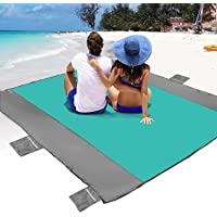 POPCHOSE Sandfree Beach Blanket, Large Sandproof Beach Mat for 4-7 Adults, Waterproof Pocket Picnic Blanket with 6…